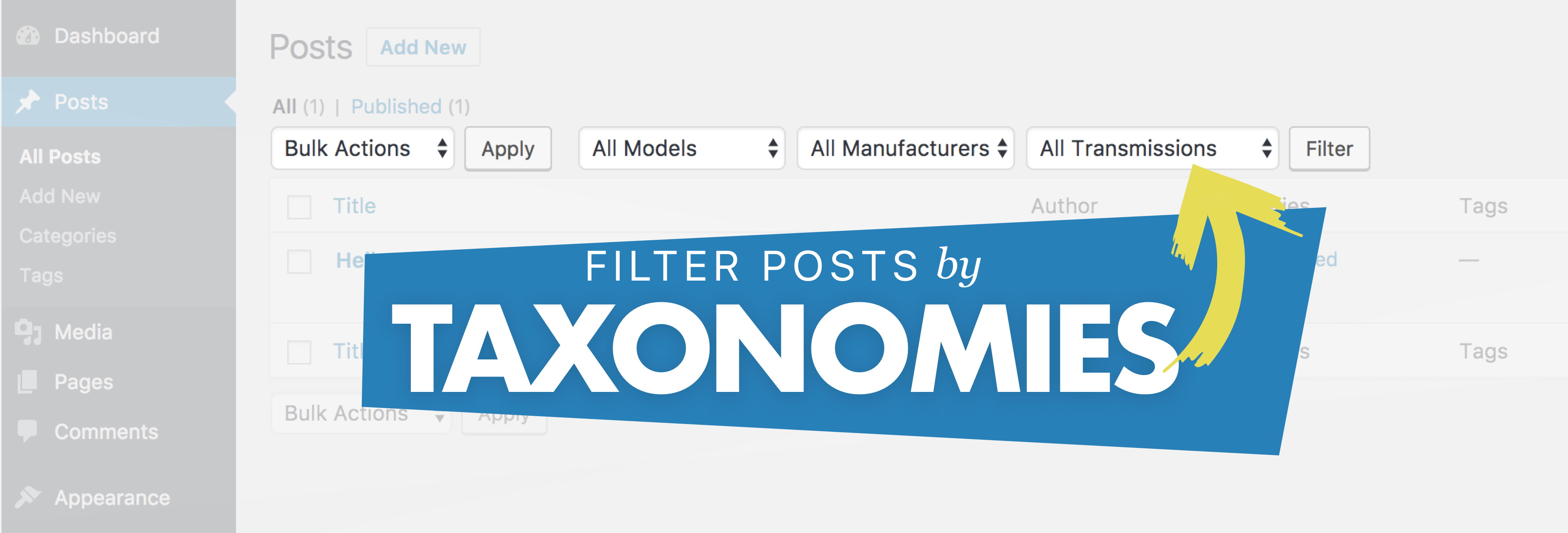 Filter Posts by Taxonomies