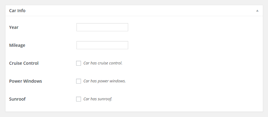 Car Info Meta Box