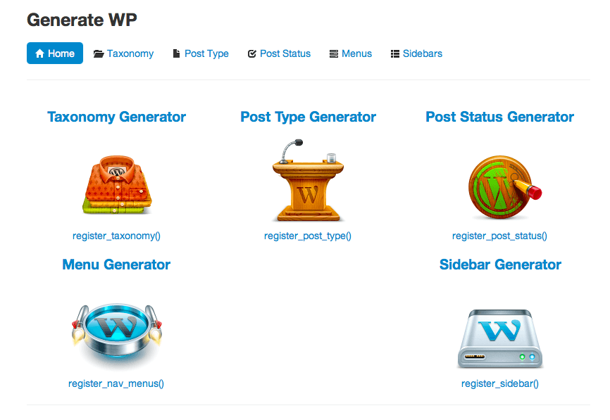 GenerateWP.com launched on January 23, 2013 with 5 code generators