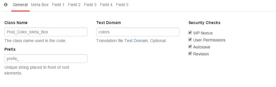 Metabox general tab
