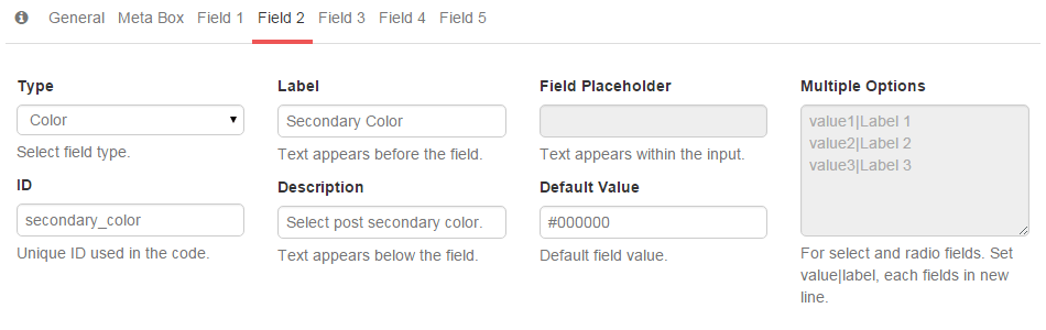 Secondary color field