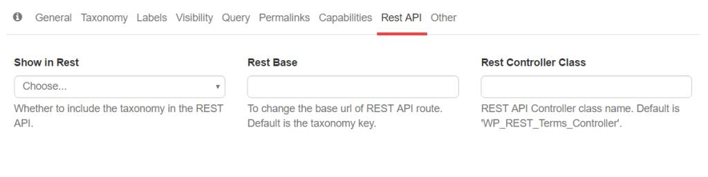 Taxonomy Generator - Rest API arguments