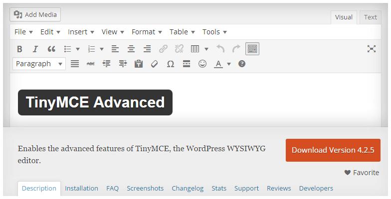 TinyMCE Advanced Plugin English