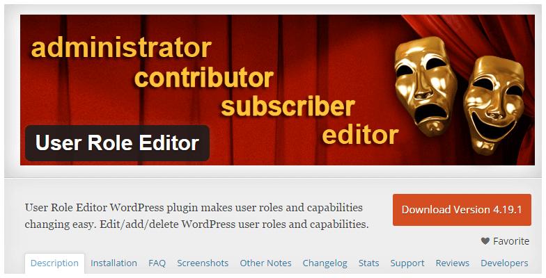 User Role Editor Plugin English