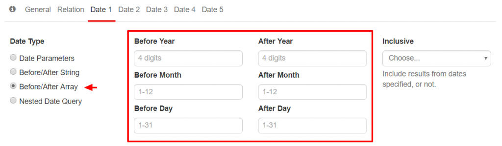 WP_Date_Query Before After Range
