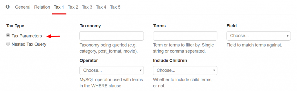 Tax Query Parameters